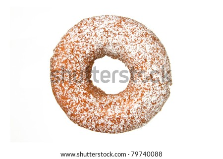 Donut with Powdered Sugar Isolated on a White Background