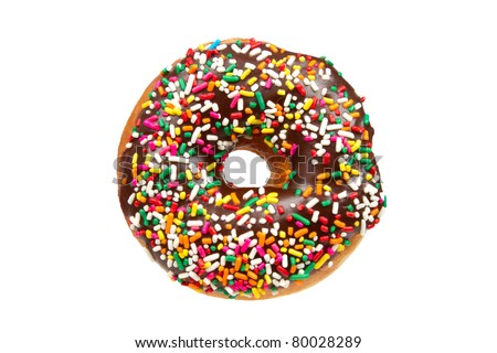 Donut with Sprinkles Isolated on a White Background.  This file includes a clipping path. - stock photo