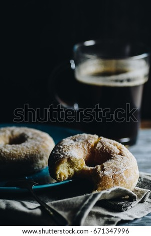Donuts and black coffee