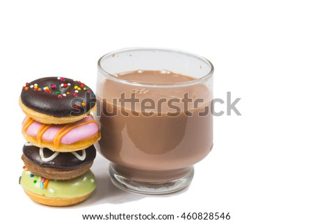 Donuts and coffee cup isolated on white