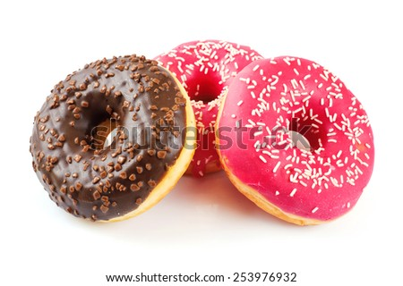 Donuts isolated on white background - stock photo