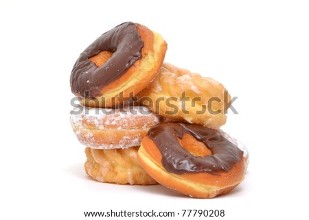 donuts on white background - stock photo