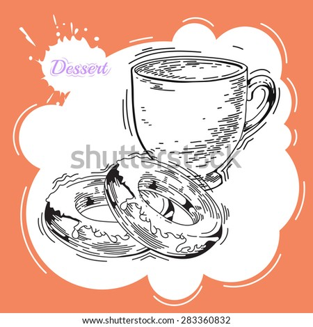 Donuts. Poster in vintage style. Bakery advertisement design template. Baking the best pastry food poster template with donuts  illustration - stock photo