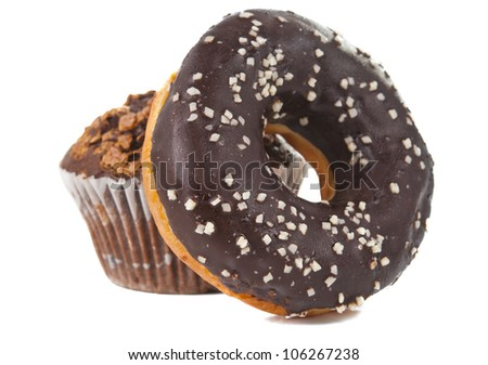 donuts with chocolate isolated on white background