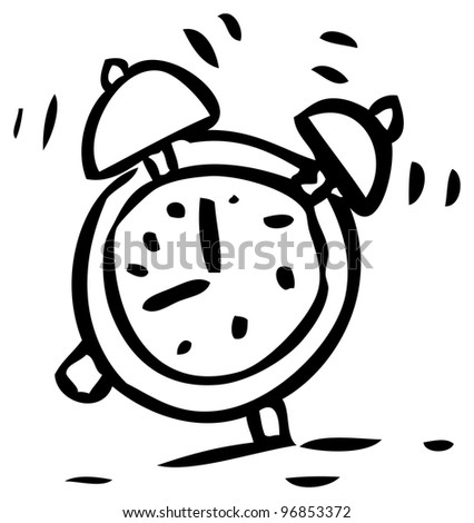doodle alarm clock - stock photo
