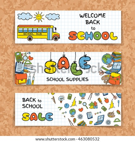 Doodle Back to School sale banners set on green chork board background. Hand drawn education symbols on notebook paper. School supplies sale concept. Invitation template.