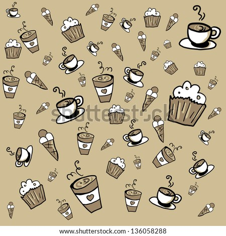 Doodle background coffee