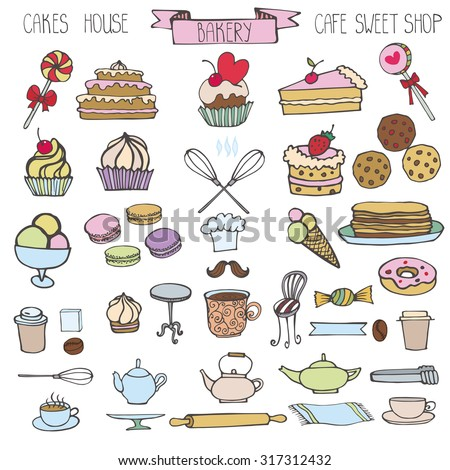 Doodle Bakery,Cakes and dessert,pastries  icons set.Colored vintage elements for logo,label,menu,cafe shop. Flat hand drawn isolated items.Sweet vintage collection.Illustration, - stock photo
