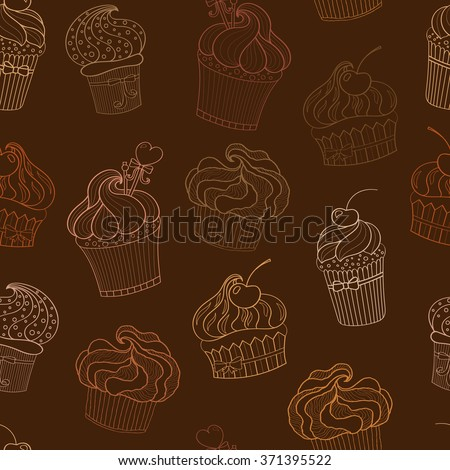 Doodle beige cupcakes pattern
