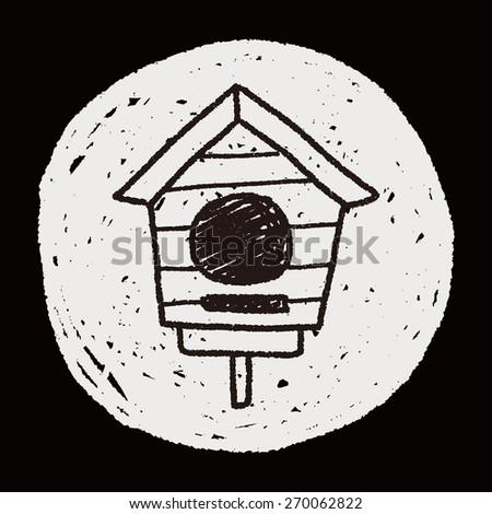 doodle bird house - stock photo