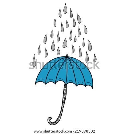 Doodle blue umbrella and grey raindrops on white background - stock photo