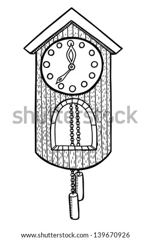 doodle clock, raster version - stock photo