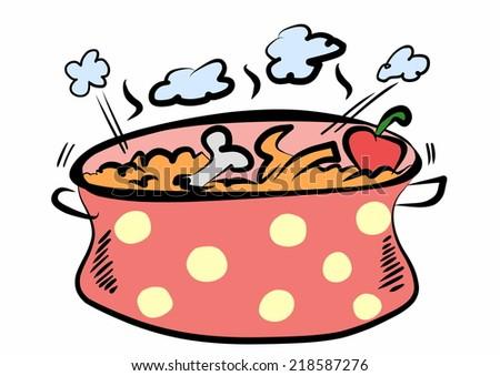 doodle cooking pot - stock photo