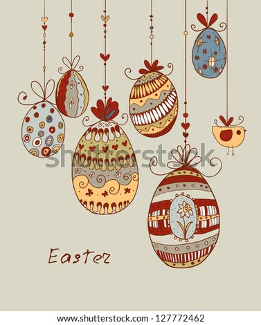 Doodle decorative colorful eggs for Easter. Raster.