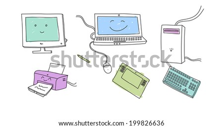 Doodle electronic devices - stock photo