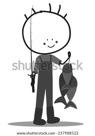 Doodle fisherman - stock photo
