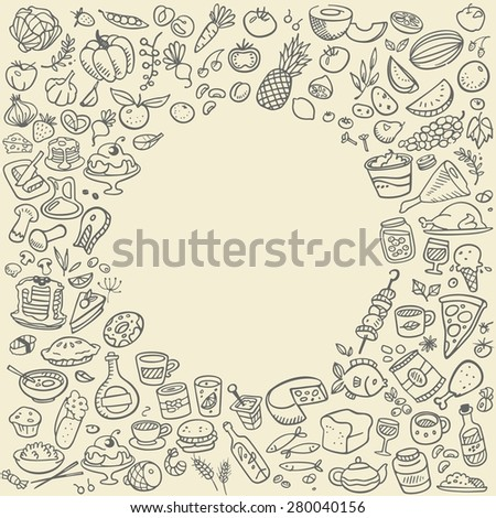 doodle food icons - stock photo