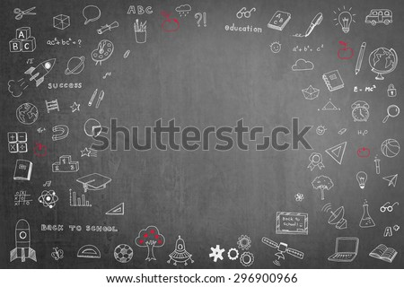 Doodle freehand chalk drawing on blackboard with circular blank copy space for adding texts: Childhood concept: Children/ students' thought of creative thinking idea about education success   - stock photo