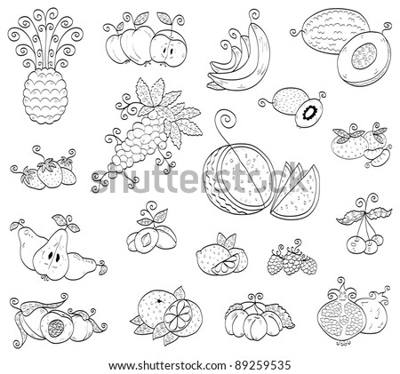 Doodle fruits, berries (raster illustration) - stock photo