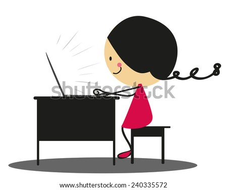 Doodle girl working with laptop - Full Color - stock photo