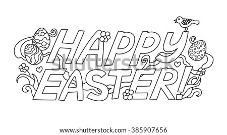 "Doodle graphic lettering ""Happy Easter"" isolated on white background."