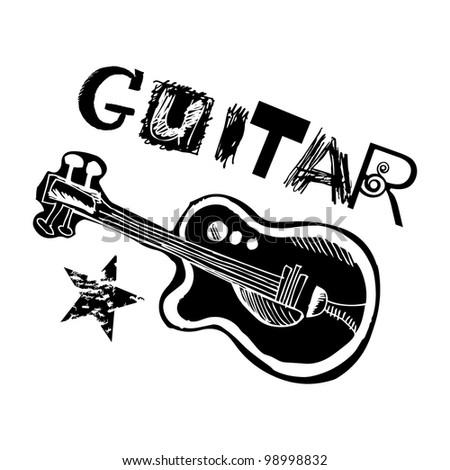 doodle guitar - stock photo