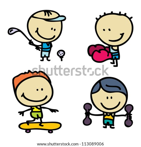 Doodle happy sport children - stock photo