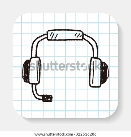 Doodle Headphone - stock photo