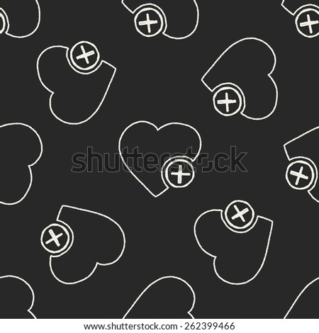 Doodle Heart seamless pattern background - stock photo