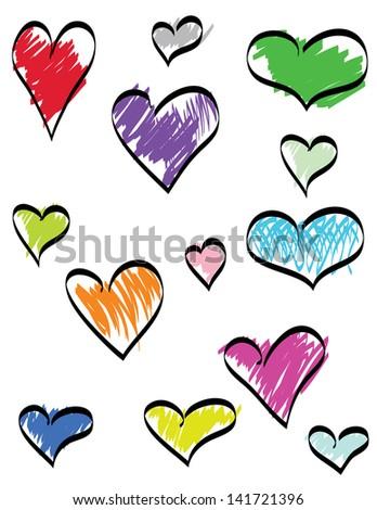 doodle hearts - stock photo
