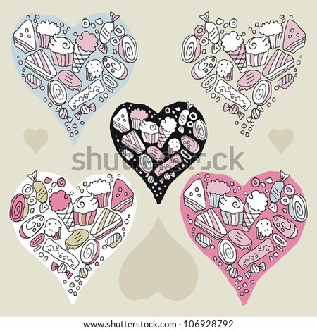 Doodle hearts set with cookies and sweets - stock photo
