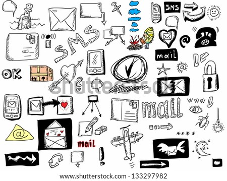 Doodle icons for web, sms, email