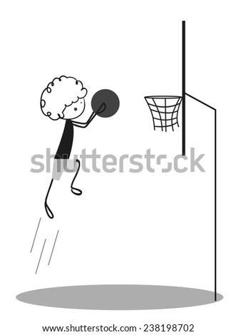 Doodle Little boy Playing Basketball - stock photo