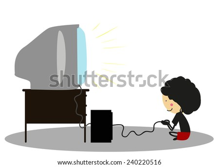 Doodle Little boy playing video games - Full Color - stock photo