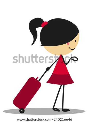 Doodle little girl carrying a bag for Traveling - Full Color - stock photo