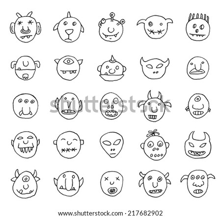 Doodle monster icon, illustration. - stock photo