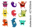 Doodle monsters set. Colorful toy cute alien monster. Graphic illustration - stock vector
