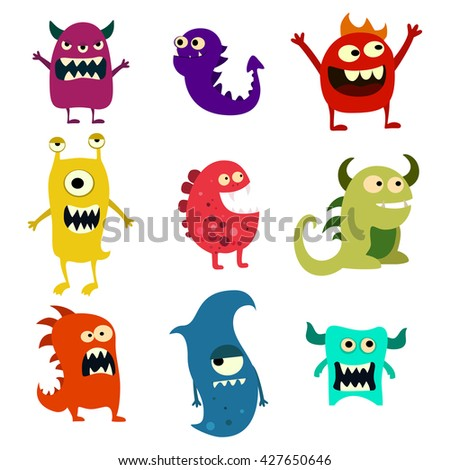 Doodle monsters set. Colorful toy cute alien monster. Graphic illustration