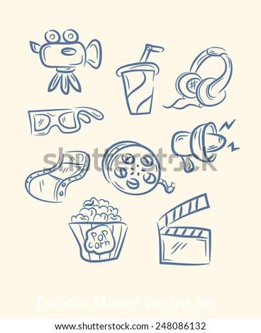doodle movie set - stock photo