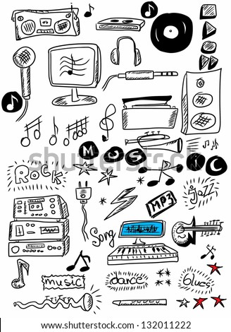 Doodle music - stock photo