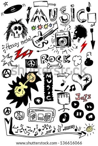 Doodle music - stock photo