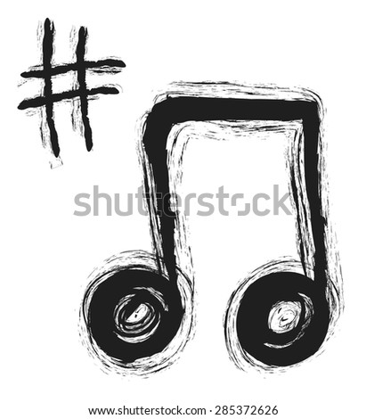 doodle music note icon - stock photo