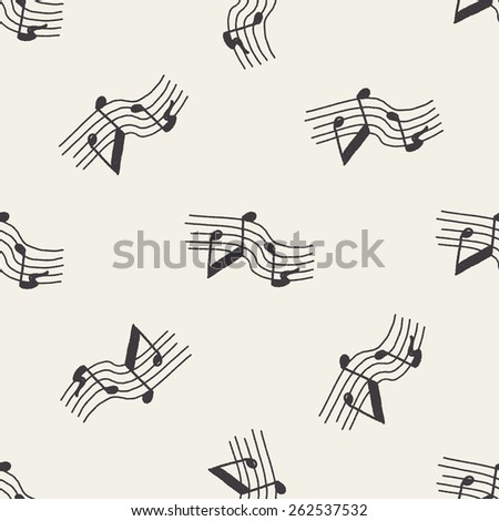 doodle music seamless pattern background