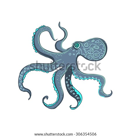 doodle octopus, isolated on the white background,   - stock photo