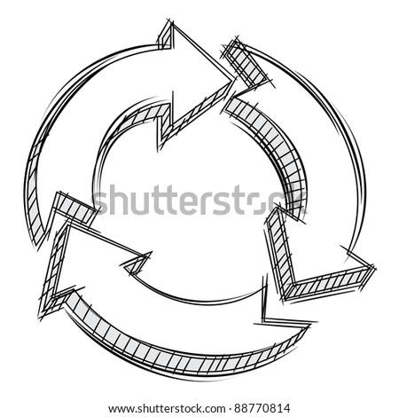 Doodle of three circular arrows - stock photo