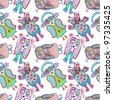 doodle owl seamless pattern - stock photo