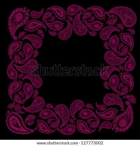 Doodle paisley background-frame. Raster. - stock photo