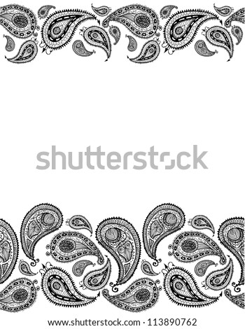 Doodle paisley seamless lines background. Raster. - stock photo