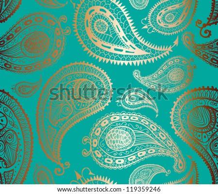 Doodle paisley seamless pattern. Raster. - stock photo