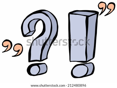 doodle question and exclamation mark - stock photo